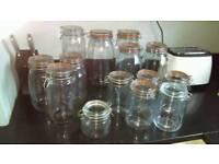 Clip lock glass jars (14 in total)