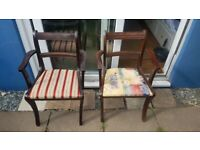 2 vintage solid wood chairs
