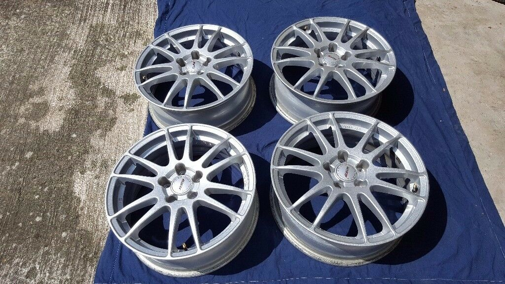 "Wolfrace Alutec Monstr 6.5x17"" ET42 set of 4 polar siver alloy wheels in good condition"