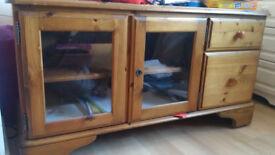 Wooden TV table and inbuilt book shelf - excellent condition - east london