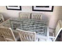 Cream wooden dining table and 6 chairs