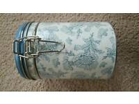 CREAM & BLUE PATTERN CANISTER - BRANDCNEW