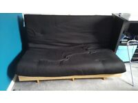 Large Double 2 Seater Black Sofa Bed/Futon
