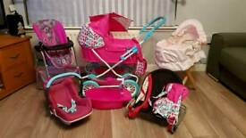Dolls Pram and various accessories