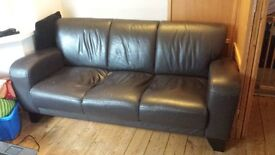 black leather 3 seater sofa couch