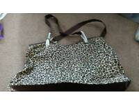 Large leopard print beach bag