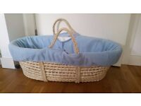 Moses basket with pink basket cover, hood & mattress cover and blue basket cover