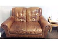 2 2 seater brown distressed look leather sofas