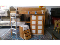 Light pine high sleeper, wardrobe and drawers (delivery available)