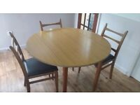 Round drop leaf table & 6 chairs
