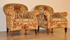Pair Of 2 Small Antique Edwardian Fireside Armchairs Chairs For Reupholstery