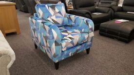 DFS Blue Lustre Pattern Accent Chair **CAN DELIVER**