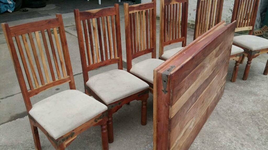 Set of 6 Mango Wood Chairs + dining table top (no legs) | in ...