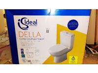 BRAND-NEW boxed white toilet set PLUS 2 x 6-sided outdoor wall-mountable coach lantern lights