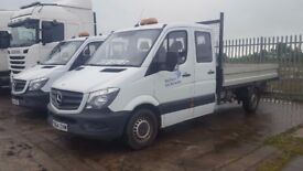 2014-64 mercedes sprinter 316/35 7 man crewcab tipper fitted with an 11ft alloy bodie plus vat