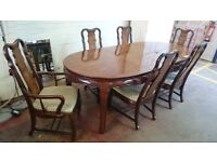 Large dining table with 6 high back chairs (total length 239cm)