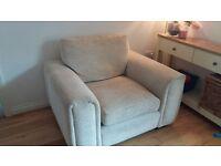 Cream, comfy, wide armchair