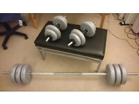 Bench + York weights (45Kg in total) 2 dumbbells + 1 barbell in mint condition