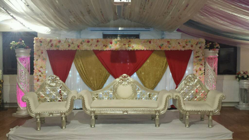 Mehndi Stage Pics : Wedding stage hire floral stages mehndi chair covers