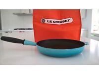 LARGE DUCK EGG BLUE LE CREUSET CAST IRON FRYING PAN