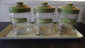 Tea, coffee, sugar containers, with tray.