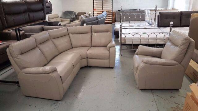 New Furniture Village Jemima Grey Leather Corner Sofa Armchair