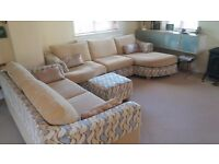 Fabric Chaise End Sofa with Sofa Bed and Footstool (in Cream)