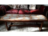 Vintage Retro Tile inlaid solid wooden coffee table
