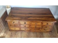 Solid wood 12 drawer coffee table /storage unit.