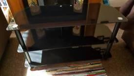 TV media unit stand black glass