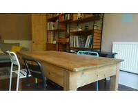 Antique rustic wood kitchen or dining table