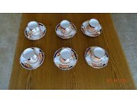 Set of 6 Bell China Coffee Cups with Saucers