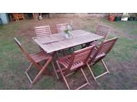 Large Garden Table and Six Chairs