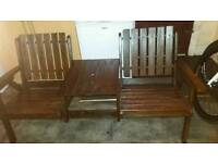 2 seater Garden bench with table in middle