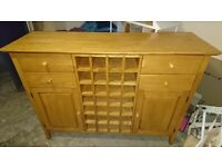 Solid wood sideboard with wine rack