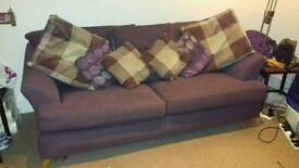 Purple sofa and arm chair
