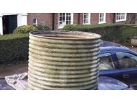 Large galvanised garden water tank