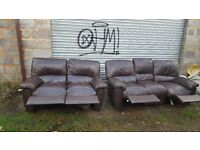 Lovely brown leather sofa suite with recliners. 3+2.good condition.can deliver