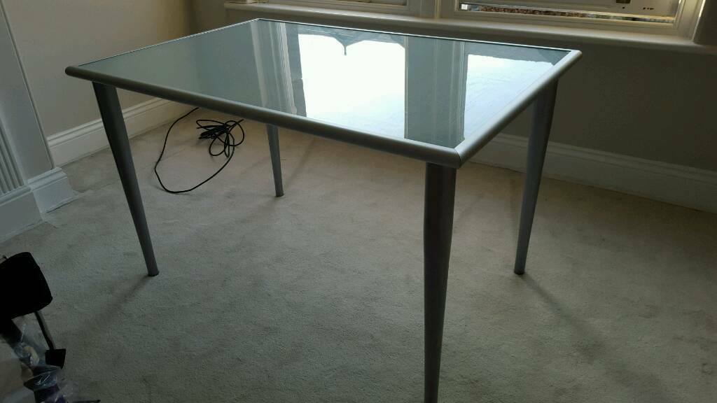 Superb glass and steel table