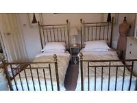 Antique Twin Brass Lacquer Beds