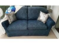 M&S Blue Jacquard Pattern sofa bed