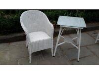 lloyd loom chair and ocassional table ideal for garden room/conservatory