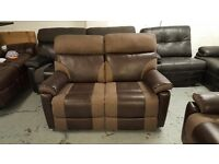 New ScS Ralph Brown 2 Seater Manual Recliner Sofa **CAN DELIVER**