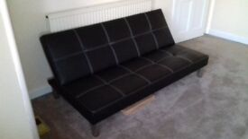 LEATHER SOFA BED EXCELLENT CONDITION - HARDLY USED