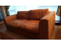 2 x 3 seater Italian tan leather couches
