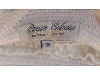 Cream Chiffon Layered Skirt with Elastic Waist And Flowers