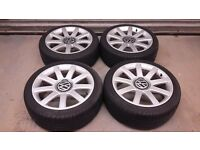VW AUDI GENUINE ALLOYS WITH NEARLY NEW TYRES 18""