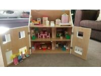 Children's Dolls House with People & Lots of Furniture