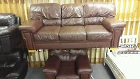 Brown leather 3 seater sofa with armchair