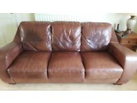 Leather sofa, chair and footstool for sale